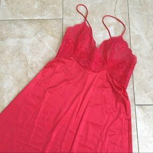 Vintage 80s Red Lace Nylon Slip Dress